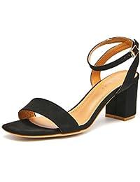 Damenschuhe Sandalen Frauen Sommer Wildleder Retro Square Head Knopf-Schnalle Fashion Rough Heel High Heels Bankett...