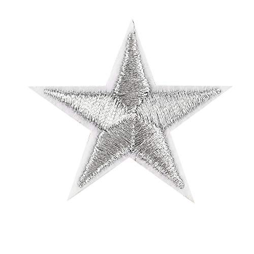 CUEYU 10PCS Silberne Sterne Gestickte Abzeichen Eisen auf Flecken Motiv Applique Aufkleber,Ideal zum Aufnähen von Stoff,Jacke,Jeans, Mütze,T-Shirt usw -
