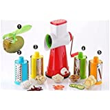(Free Peeler) 5 In 1 Vegetable & Fruit Slicer - Salad Maker With 4 Different Attractive Drums