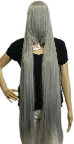 (QIYUN.Z Haarteile Damen Perücken Extra Lange Frauen Gerade Kostüm Halloween-Kostüm Anime- Kunsthaar Volle Perücke - Grau)