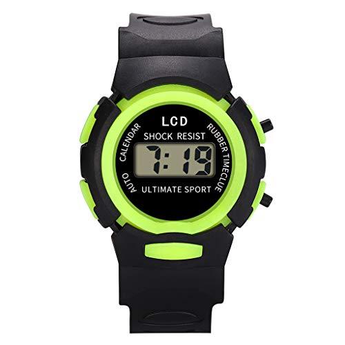 LABIUO Kinder Uhr Jungen Mädchen Analog Digital LED Elektronische Uhr Gummi Wasserdichte Outdoor Sports Armbanduhren(Grün,Einheitsgröße)