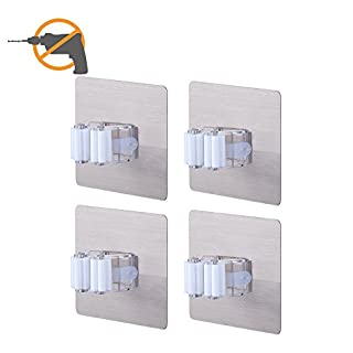 Broom Mop Holder LAUNGDA Wall Mount Tools Storage Home Organization Shelving Ideas Self Adhesive Clip Grip Pack of 4