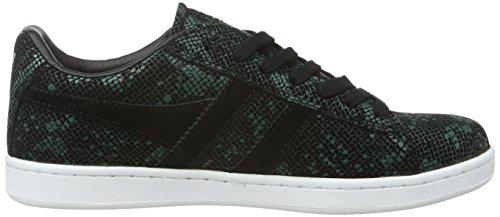 Gola Equipe Reptile, Baskets Basses Femme Noir - Schwarz (Black/Green)