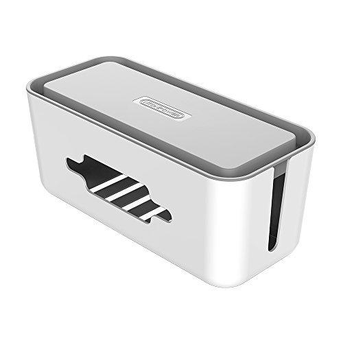 bel Organizer Box mit Smartphone Halter 31x 13,8x 13cm große Kordel Management Container für Schreibtisch Überspannungsschutz TV Computer Home Entertainment-Grau ()