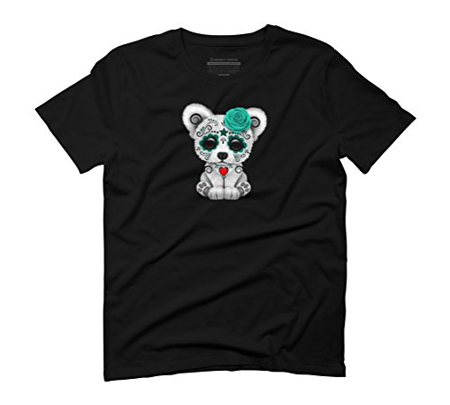 Blue Day of the Dead Sugar Skull Polar Bear Men's Graphic T-Shirt - Design By Humans Black