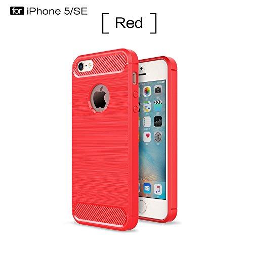 YHUISEN IPhone SE / 5S / 5 Koffer, Ultra Light Carbon Fiber Rüstung ShockProof gebürstet Silikon Grip Case für IPhone SE / 5S / 5 ( Color : Navy ) Red
