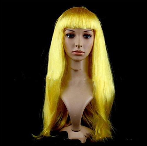 HAPPYMOOD Mehrfarben Lange Gerade Perücke -Bunt Weihnachten Halloween Karneval Cosplay Voller Kopf Perücke mit freier Kappe für Frauen , blonde (Blonde Disney Prinzessinnen)