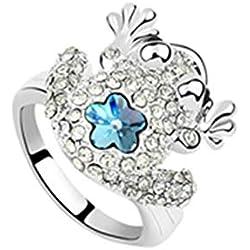 Blisfille Anillos de Compromiso Joyería de Anillo de Flor de Rana Anillo de Chapado en Oro Anillo de Océano Azul de La Talla 17