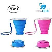 2 pcs Vaso de Agua de Silicona Plegable Portátil Retráctil WEINAS® 200ML Botella de Agua Reutilizable Taza Vaso de Viaje Plegable sin BPA Ahorro de Espacio para Viaje(Azul / Rosa)