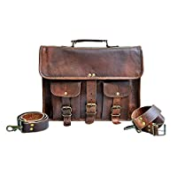 "14"" Leather Messenger Bag Laptop case Office Aktetas Gift voor Mannen Computer Distressed Schoudertas"