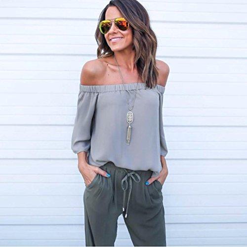 Bekleidung Longra Damen mode ab Schulterfrei Frühjahr Sommer Chiffon Tops Kurzarm Casual Bluse locker T-shirt Gray