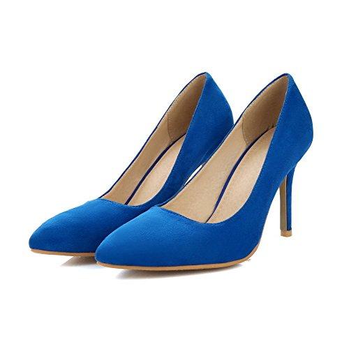 Puxão Salto Bulbo Alto Sapatos Apontado Vidro Pura Azuis Allhqfashion Bombas Fosco Senhoras Dedo No De Do xzTUzq