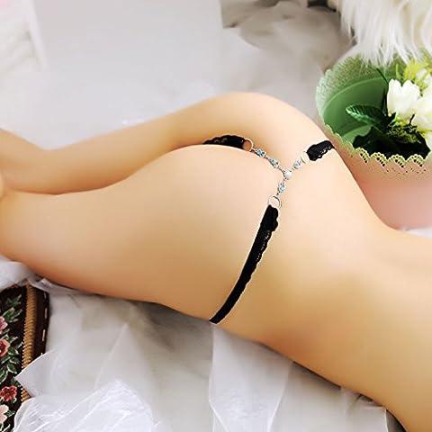 Mme Chaîne de sous-vêtements Sous-vêtements sexy goût tentation T Pantalon bijoux en diamant transparent dentelle String tentation Mystère Fun Fun Mme tentation et sous-vêtements sexy Sous-vêtements, Purple