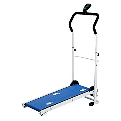 HOMCOM Portable, Folding, Manual Treadmill for Home Gym Cardio Fitness Workout with LCD and 2 Incline Levels (Blue) by MHStar UK LTD