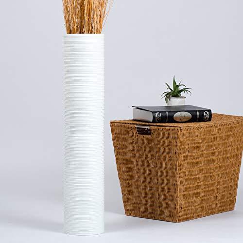 Leewadee Große Bodenvase für Dekozweige hohe Standvase Design Holzvase, 15x75 cm, Holz, Weiß
