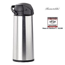 Rosenstein & Söhne Pumpkanne: Edelstahl-Pump-Vakuum-Isolierkanne, 1,9 Liter (Kaffekanne)