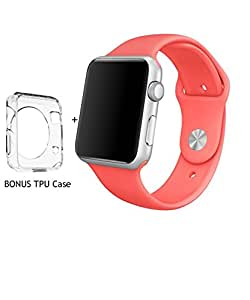 Apple Watch Replacement Band, ICESMART Soft Silicone Replacement Sport Band for 42mm iWatch Apple Watch strap, Bonus Case Included |3 Pieces of Bands Included for 2 Lengths (Coral-42mm)