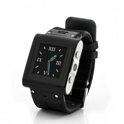 SmartWatch reloj teléfono móvil impermeable A prueba de golpes GSM Cuatribanda MP3 Player Negro Color