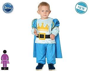 Atosa-61312 Atosa-61312-Disfraz Principe-Bebé NIño, Color celeste, 24 Meses (61312