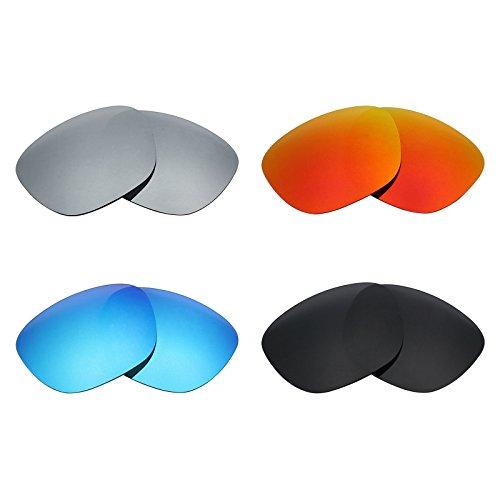 MRY Polarisierte Ersatzgläser für Oakley Enduro Sonnenbrillen, Stealth-Schwarz/Feuerrot/Eisblau/Silber-Titan, 4Paar
