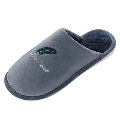 FNKDOR Schuhe Unisex Paar Zuhause Baumwolle Pantoffeln Slip-On Nicht offener Zeh Pantoffeln Weich Warm halten rutschfest Schlafzimmer Indoor Slipper Dunkelblau 42 EU Tone Peep Toe Slingback Sandal