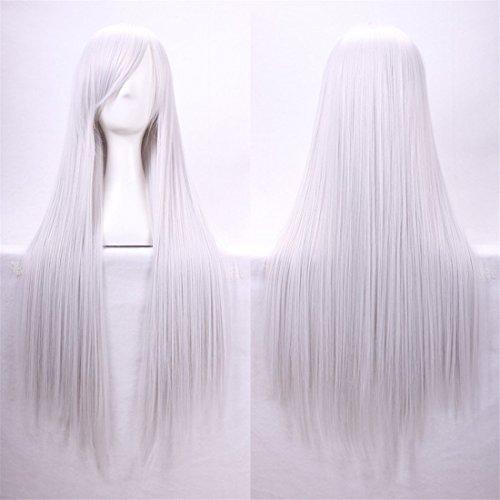 Chiguo Perücke 80cm Langes Glattes Blond Schwarz Braun Rosa Grau Usw Perücke Haar für Damen Frauen Karneval Cosplay Halloween Schaufensterpuppen Mottoparties (Silbrig weiß)
