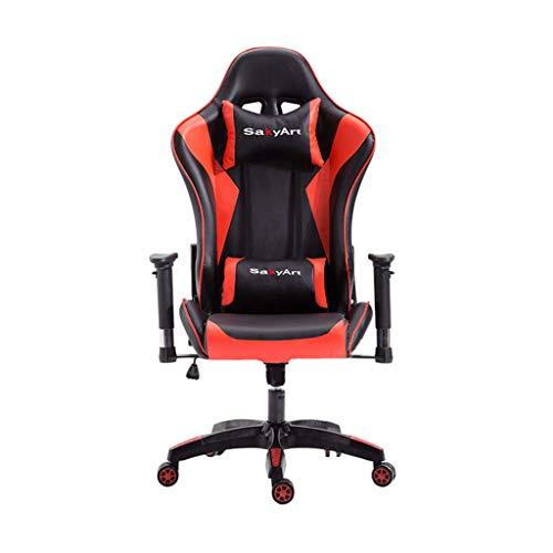 WQ-Deckchairs Gaming Stuhl High-Back PU Leder Bürostuhl Computer Schreibtisch Stuhl Executive und ergonomischen Stil Drehstuhl mit Kopfstütze und Lordosenstütze (Rot) -