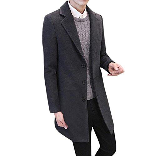 Outdoor Herren Sunday Winter Männer Formal Einreiher Figuring Mantel Knöpfe Lange Wolle Coole Jacke Outwear (Grau, XL) (Mens Anzug Grau Wolle)