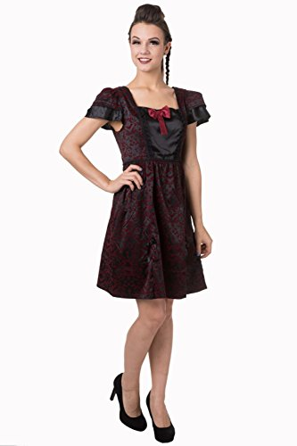Gebannt schwarze Gothic Efeu-Muster-Bogen-Kleid Black
