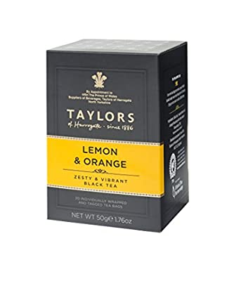 TAYLORS of HARROGATE Thé Noir au Citron à l' Orange - 1 x 20 Sachets - 50 Gram