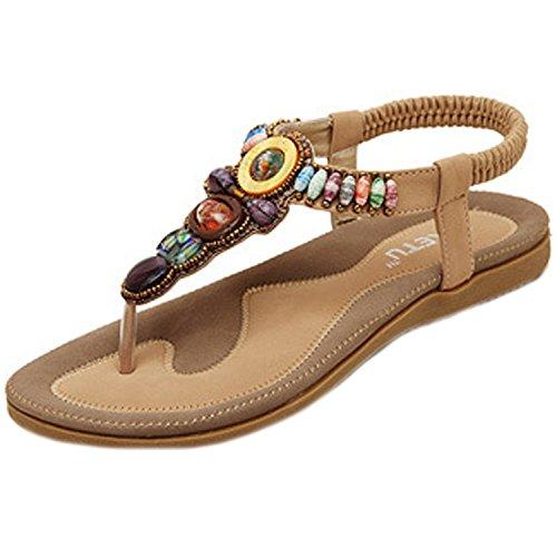 Minetom Mujer Sandalias Con Cuentas Embellecimiento Bohemio Estilo Zapatos Playa Sandalias Verano Khaki 38