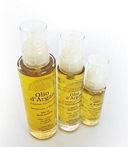 Olio di argan puro e biologico al 100% | certificato ecobio ecocert | per capelli, viso, corpo, mani, unghie, cuticole, barba | cosmesi naturale per la tua home spa (100 ml)