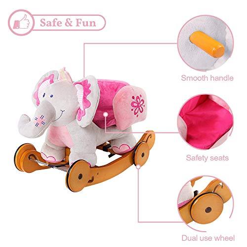 Labebe Baby Schaukelpferd Holz mit Räder, 2-in-1 Schaukelpferd Elefant&Schaukelpferd Rosa für Baby 1-3 Jahre Alt, Kleinkind Schaukel Baby/Schaukelpferd Pink/Spielzeug Schaukel/Schaukeltier Musik - 6