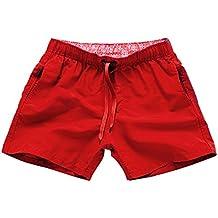 BOZEVON Hombres Mujer Casual Ajustable Pantalonetas Deporte Pantalón Shorts  de Playa Surf Cortos 5981ba7c73c