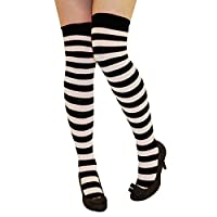 CRAZY CHICK New Ladies Girls Stripe Stripy Striped Over The Knee Thigh High Long Socks Assorted Colours UK Size 4-6 (Black & White)