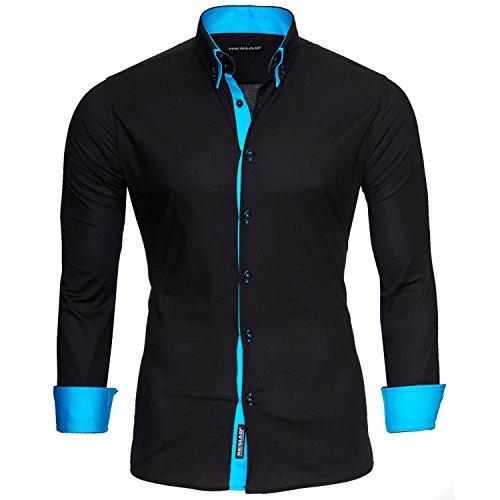 Reslad Männer Hemd bügelleicht Slim Fit Freizeit-hemden Business Herren Kontrast Langarmhemd RS-7050 Schwarz Türkis Gr M