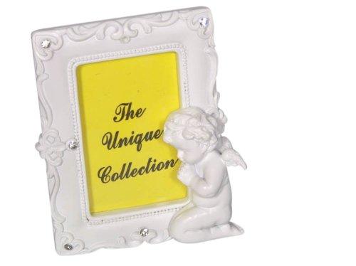 MaMeMi Bilderrahmen Engel betend Polyresin, weiß, Glitzersteine * 8,5x10,5 cm Hochformat (Katholische Papst Kostüm)