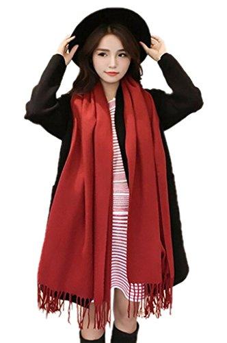 Smile YKK Femme Echarpe Châle Foulard Uni Avec Franges Simili Cachemire Doux Epaissir de chaud Vin Rouge