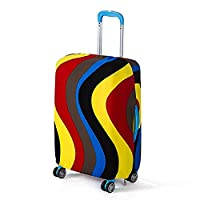 Artone Rainbow Wave Washable Spandex Travel Luggage Protector Baggage Suitcase Cover Fit 26-28 Inch Luggage