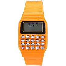 Reloj - SODIAL(R)Reloj electronico de silicona de multifuncion de calculadora para ninos y jovenes naranja