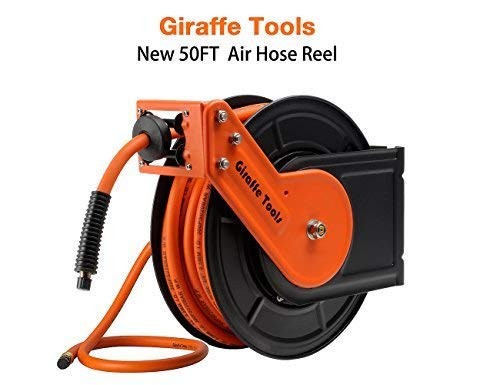 Giraffe Tools giraffe retractable airhosereel mit 3/8. x 50 ft hybrid-luftschlauch, auto rewind pneumatikschlauch reel, 300psi heavy duty steelree 3/8 in. x 50 ft. 50