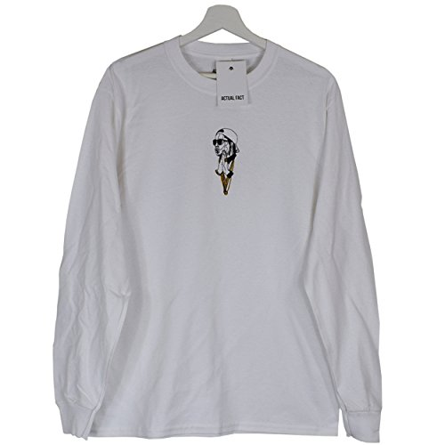 Actual Fact A$AP ASAP Rocky Lord Flocko Embroidered Mob Rap Lord Flocko Hip Hop White Long-Sleeved Tee T-Shirt (Small-XXLarge)