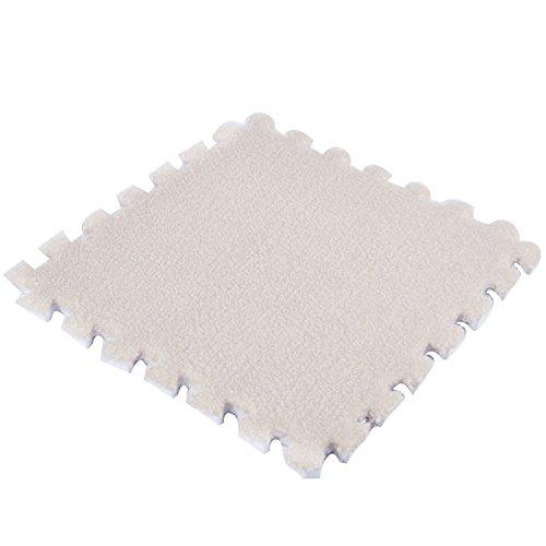 JYCRA ineinandergreifende Schaumstoff MATTEN, 9Flauschig Gummibodenmatte Teppich Fliesen Plüsch Bereich Teppich Ideal für Kinderzimmer Dekor, Baby Raum, Spielzimmer und Kinder, Camel, 9Pack -