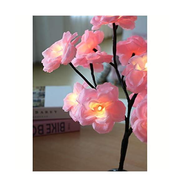 Uonlytech Luz de árbol de Flor de Camelia de 15 Ramas decoración de lámpara de Mesa de Flores con batería para hogar…