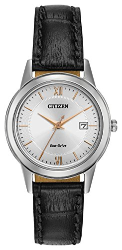 citizen-watch-womens-eco-drive-watch-with-silver-dial-analogue-display-and-black-leather-strap-fe108