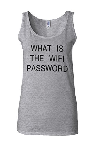 What Is The WIFI Password Novelty White Femme Women Tricot de Corps Tank Top Vest Gris Sportif