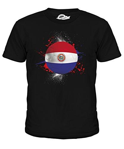 CandyMix Paraguay Fußball Unisex Jungen Mädchen T Shirt, Größe 10 Jahre, Farbe Schwarz