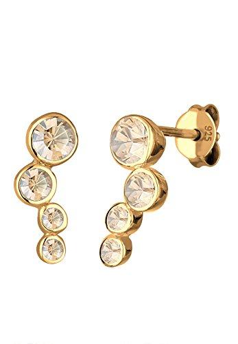 Elli Damen Ohrstecker Basic Geo Klassisch 925 Sterling Silber Vergoldet Swarovski Kristalle gold