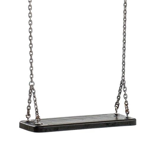 Loggyland Kinderschaukel Schaukelsitz mit Feuerverzinkter Kettensatz, Schaukelhöhe bis 2,5 m, Gummi mit Aluminiumplatte verstärkt, schwarz