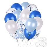 TUPARKA 50 Pz Palloncini Blu Set Palloncini di coriandoli Blu e Bianchi Palloncini in Lattice per Bambini Decorazioni per Feste di Compleanno, Docce per Bambini, Vieni con Nastri a Palloncino